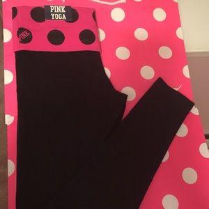 Victoria Secret Pink black dots yoga leggings